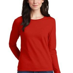 Gildan Ladies 100% Cotton Long Sleeve T Shirt Thumbnail